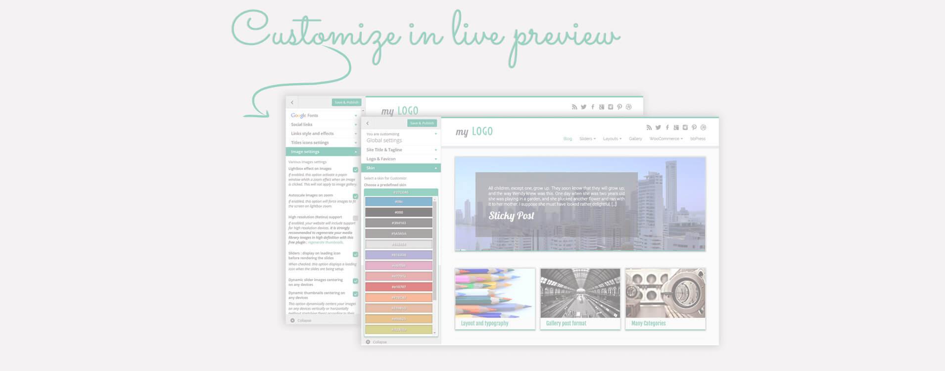 Многие параметры макета и дизайна доступны на экране настройки WordPress: наблюдайте изменения в реальном времени!
